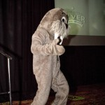 Wallie entertains to crowd during a recent conference. Walrus' have all the answers.